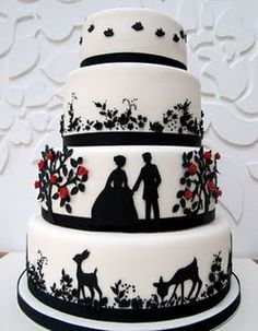 Silhouette wedding cake idea - like the red accents with the black and white
