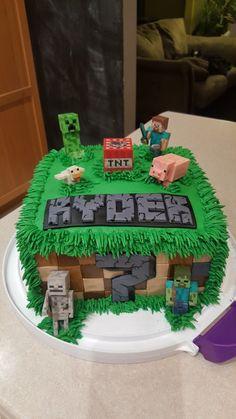 Ryder's 7th Birthday Minecraft Cake Drake's Birthday, Minecraft Birthday Cake, Minecraft Cake, Baby Girl Birthday, Minecraft Party, Birthday Cupcakes, Birthday Parties, 7 Cake, Second Birthday Ideas