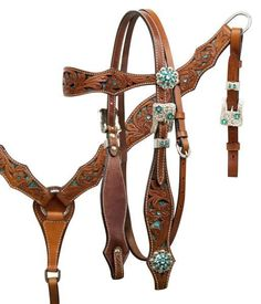WESTERN BLING ! LEATHER HORSE BRIDLE HEADSTALL WITH REINS & BREAST COLLAR…