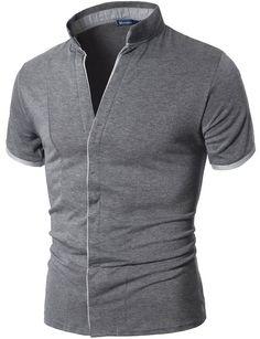 Doublju Mens China Collar Shirt with Hidden Placket GRAY (US-XS)