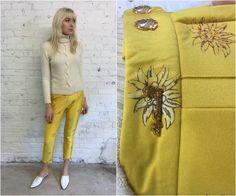 vintage Lily Farouche ski pants / 1980s yellow stirrup pants / floral print stretch pants by dustyrosevintage on Etsy