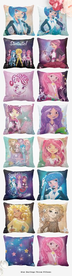 Star Darlings throw pillows for decorating a tween girl's bedroom.