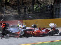 Accidente en la salida del GP de Bélgica