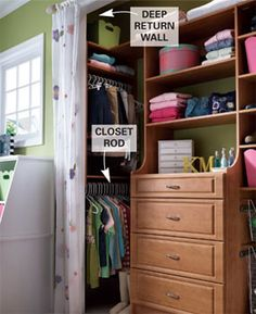 """For closets deeper than 24"""", run the closet rod perpendicular to the wall for extra hanging space. Brilliant!!"""