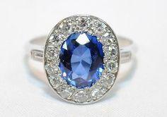 1900s Antique 3 Carat Sapphire and 1 Carat Diamond Ring in Platinum - $40K VALUE