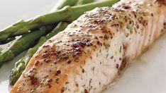Roasted Salmon with Mustard and Tarragon - Recipe - FineCooking Salmon Skin, Roasted Salmon, Baked Salmon, Garlic Salmon, Salmon Fillets, Oven Racks, Salmon Recipes, Seafood Recipes, Seafood Dishes