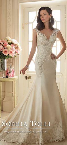 Sophia Tolli Spring 2016 V-neck Satin Lace Wedding Dress