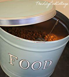 repurposed popcorn tin -- dog food container diy
