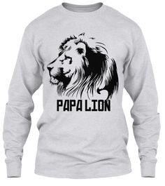Papa Lion Ash Grey T-Shirt Front