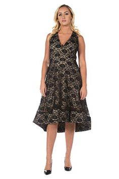 Womens Plus Black Lace Fit and Flare Tea Length Full Skirt Formal Party  Dress 2XL   e555330fb