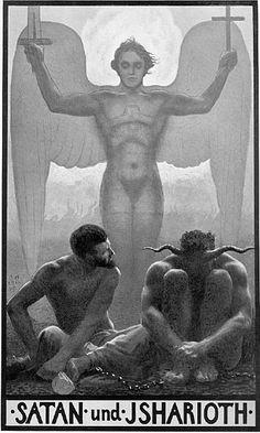 Cover art for Karl May's Satan und Isharioth, Germany, 1905, by Sascha Schneider.