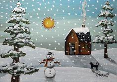 Snowman 5x7 inch Canvas Panel ORIG Landscape PAINTING PRIM FOLK ART Karla G....new painting for sale, just finished... #FolkArtAbstractPrimitiveLandscape