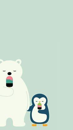 Polar Bear & Penguin Popsicles ❤ I don't own this image ❤ Cute Disney Wallpaper, Wallpaper Iphone Disney, Cute Cartoon Wallpapers, Cute Wallpaper Backgrounds, Cool Wallpaper, Mobile Wallpaper, Penguin Drawing, Cartoon Background, Cute Penguins
