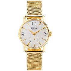 Du Maurier  - Daphne Signature Gold with Silver Dial & Gold Mesh... (2,170 PEN) ❤ liked on Polyvore featuring jewelry, watches, leather-strap watches, logo watches, vintage style watches, mesh watches and gold strap watches