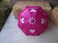 Dark Pink Poppins Inspired Parasol Umbrella Ready to Ship and Personalize by LoRensRainorShine on Etsy