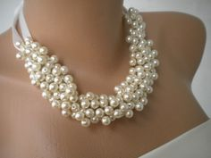 Handmade Weddings Pearl Necklace by kirevi8 on Etsy, $55.00