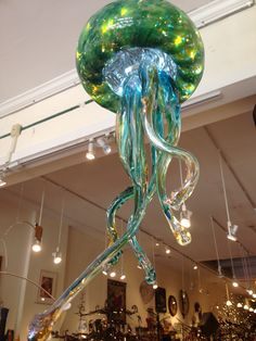 Opal Art Glass Jellyfish at the Cat! http://divingcatstudio.com/shop-the-gallery/homedesign/opal-art-glass-jellyfish/