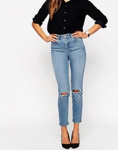 ASOS FARLEIGH High Waist Slim Mom Jeans in Prince Wash With Busted Kne