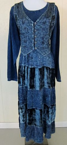 24 Karat Women's Size M Dark Blue Wash Tiered Vested Boho Hippie Dress India #24Karat #Tiered
