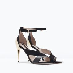 Zara Combination Heeled Sandals With Ankle Strap