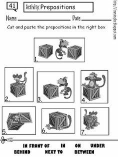 Ficha para reforzar el aprendizaje de preposiciones. Fácil y divertida.