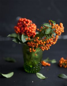 ARRANGEMENT: | Orange Berries + Vivid GREEN Leaves for Foliage + Matching GREEN Glass Cup or Mini Cylinder Vase.