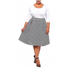 Black and white striped knee length skater skirt    no zip waist | Shop this product here: spreesy.com/3b_beautybarbaltimore/132 | Shop all of our products at http://spreesy.com/3b_beautybarbaltimore    | Pinterest selling powered by Spreesy.com