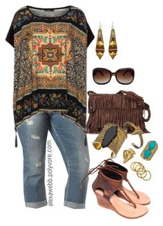 """Plus Size - Hippy Chic"" by alexawebb ❤ not sure about the shoes but something about this look appeals to me! Style Outfits, Cool Outfits, Summer Outfits, Casual Outfits, Fashion Outfits, Fashion Ideas, Curvy Fashion, Look Fashion, Plus Fashion"