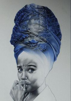 'Ice cone' 2016 African/Dutch girl and the winter cold Afro fine art oilpainting child blue