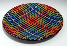 Fused Glass Plates and Bowls   ROYGBIV Plaid on Black Platter