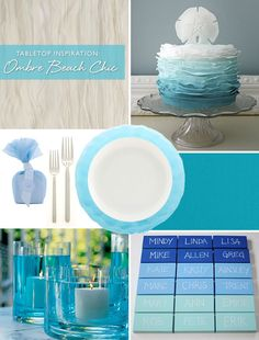 ombre blue beach chic tabletop inspiration - Love the colors.