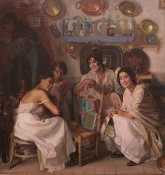 Dias de Fiesta o Granadinas by José María López Mezquita (Spanish 1883 - 1954) Spanish Painters, Spanish Artists, Arte Latina, Spain Culture, Great Paintings, Valencia, Brochures, Posters, Spanish Art