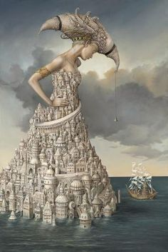 She is the city by the sea, painting by modern surrealism painter Tomek Sętowski from Poland