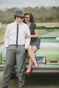 Houston Drive In Engagement Session from Katie Lamb Photography | Style Me Pretty