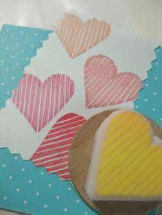 LOVE HEART - border - hand carved rubber stamp - handmade - wood handle (rsm-lh) $7