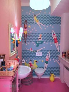 Happy Walls: Tapete von Rice Love this RICE Wallpaper for a bathroom. picture by happyh Interior Design Themes, Bathroom Interior Design, Good Vibe, Bathroom Design Inspiration, Bathroom Wallpaper, Bathroom Colors, Interior Exterior, Room Decor, House Design