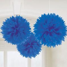 Pompons - 3 Dekobälle Blau