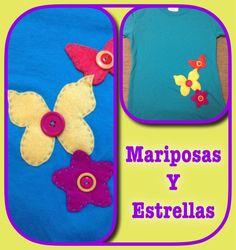 Mariposa y flores en fieltro