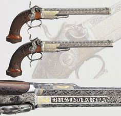"""A pair of percussion pistols owned by """" KING OSCAR OF SWEDEN"""" mid 19th century."""