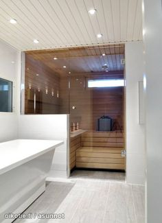 35 The Best Home Sauna Design Ideas You Definitely Like - No matter what you're shopping for, it helps to know all of your options. A home sauna is certainly no different. There are at least different options. Latest Bathroom Tiles, Bathroom Tile Designs, Modern Bathroom, Small Bathroom, Sauna Steam Room, Sauna Room, Basement Sauna, Modern Saunas, Bathroom Vanity Store