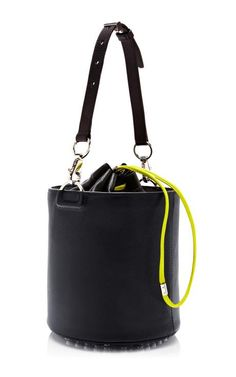 Black Bucket Bag With Neon Strap by Alexander Wang for Preorder on Moda Operandi