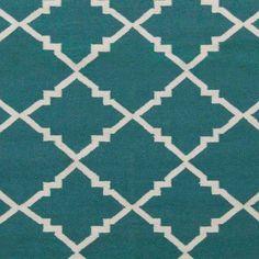 Art of Knot Prichard Hand Woven Gate Scroll Flatweave Wool Area Rug, Teal, Blue