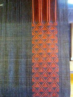Lovely scarf on the loom by Scottish weaver Dorothy Stewart. via Little Garth Lochmaben