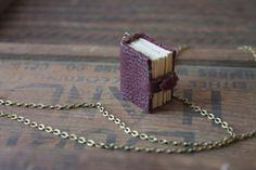 Mini Book Charm Necklace for book lover teacher by rainrainrva