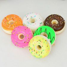1pc 5cm Mini Donuts Squishy Bread Cream Scented Cell Phone Straps Kawaii Charms