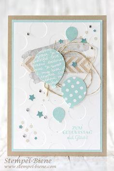 Geburstagskarte mit Ballons; Stempel-Biene; Stampinup Geburtstagskarte; Elementstanze Luftballons; Ballonstanze; Stampinup bestellen; Stempel-Biene