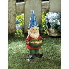 Bird Feeder Gnome Solar Statue