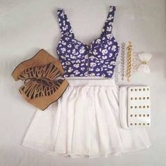 This outfit is amazing for going out or holidays and the shoes are beautiful so is the top, skirt and the bow