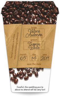 """Spilling The Beans Coffee Cup Save The Date Magnet (3.5"""" x 5.5"""")"""