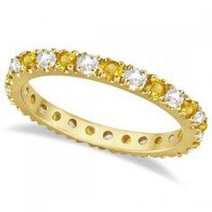 Diamond and Yellow Sapphire Eternity Ring Band 14k Yellow Gold (0.64ct) - Allurez.com
